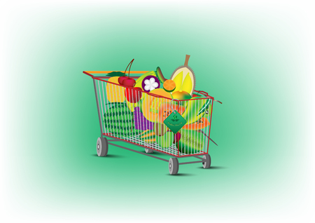 concept and idea shopping cart with sale price fresh fruit product. Vector EPS10