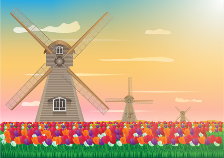 Concept and idea abstract tulip flower and wind turbine background. Flat object flower background. vector EPS10
