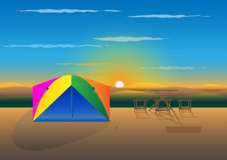 Concept and idea camping on mountain. vector EPS10 Illustration