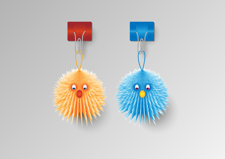 Concept and idea animal toy. Animal dolls hold on a wall. vector EPS10