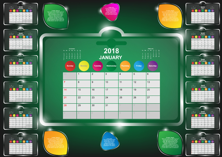 white sheet: Calendar year 2018. Twelve months calendar year 2018 template. Calendar with pattern background collection. Vector EPS10 Illustration