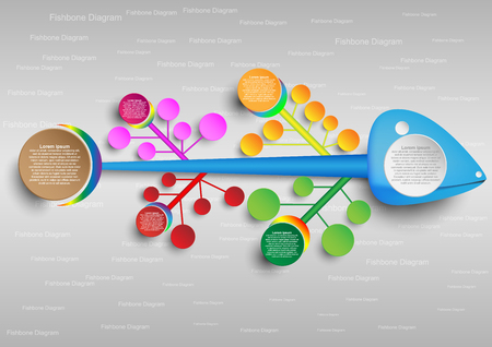 colorful fishbone diagram analysis chart. Business problem solving chart and template for team brainstorming in company. Vector EPS10