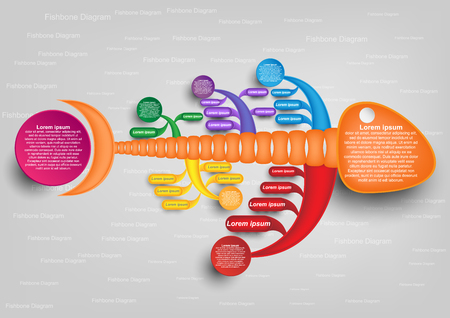 colorful fishbone diagram analysis chart. Business problem solving chart and template for team brainstorming in company. Vector EPS10 Ilustração