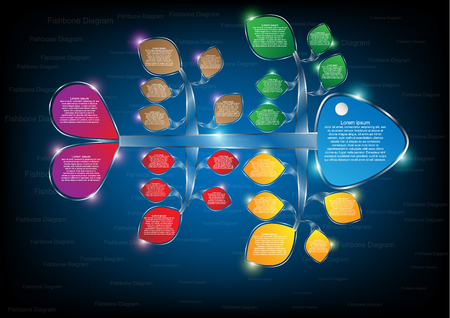colorful fishbone diagram analysis chart. Business problem solving chart and template for team brainstorming in company. Vector EPS10 Vectores