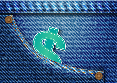 Concept and idea money currency in denim pants texture background. Illustration
