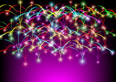 Colorful firework explode festival background. celebration party and festival background. Illustration