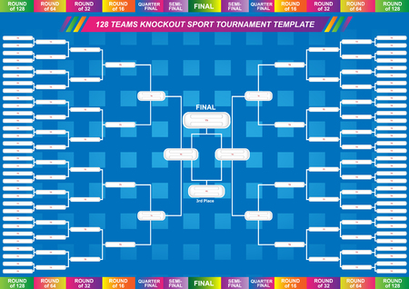 Sport fixture and result template for final round 128 teams knockout competition. Vector EPS10
