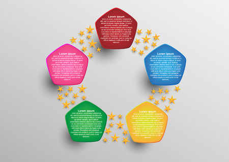 Pentagonal infographic. Concept and idea abstract infographic template for create report and presentation. Vector EPS10