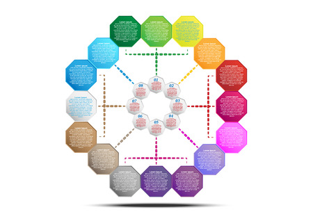 Hexagon infographic template for create presentation and strategy report. Vector EPS10 Illustration