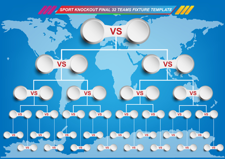 Sport fixture and result template for final round 32 teams knockout competition and world map background.