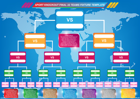 Sport fixture and result template for final round 32 teams knockout competition and world map background. Vector EPS10