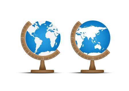 World globes with angle stand fixture. Illustration