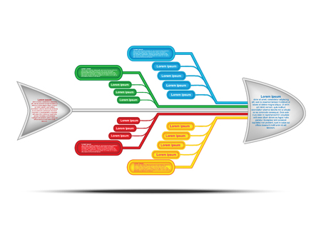 Fishbone diagram. Cause and Effect Diagram. Vector chart and infographic for create report, presentation and brainstroming with team for solve problem. Vector EPS10