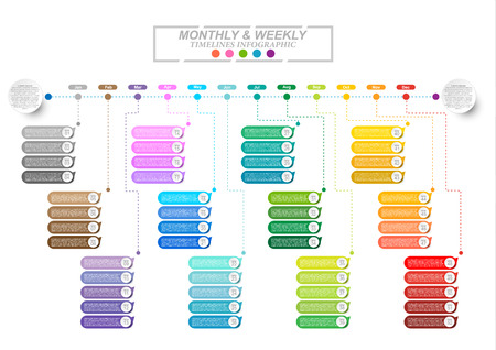 Modern business horizontal timeline process chart infographics template. Vector banner used for presentation and workflow layout diagram, web design. Abstract elements of graphic monthly and weekly plan. Vector EPS10 Stock Illustratie