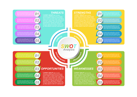 Business data visualization. SWOT diagram infographic template for presentation. Creative concept for infographic report. Vector EPS10