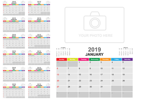 Kalender 2019 sjabloon en ontwerp met achtergrondcollectie. Vector Eps10