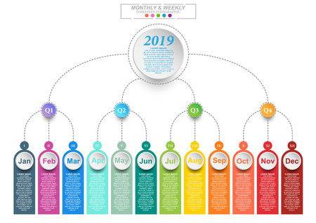 Modern business horizontal timeline process chart infographics template for presentation and workflow layout diagram, web design. Abstract elements of graphic monthly and weekly plan. Vector EPS10