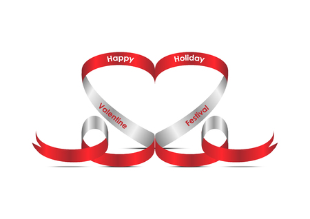 Red ribbon with heart shape concept. valentines day festival concept and idea. Vector EPS10 Иллюстрация