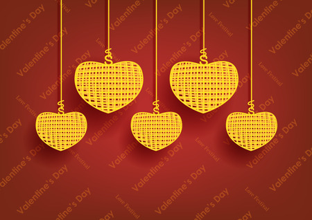 concept and idea for valentines day. golden color heart on red background. Vector EPS10