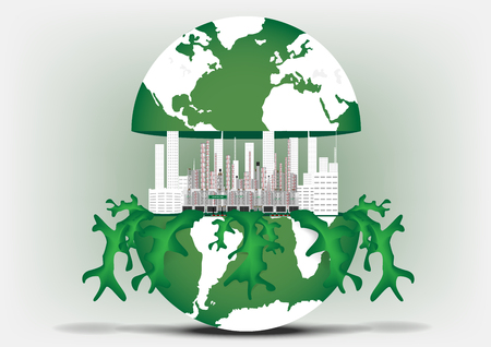 Concept and idea city in a green world. Green factory and green city in a world Иллюстрация