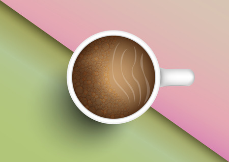 Concept and idea top view of coffee cup with color two tone screen background. Food and drink concept and color background