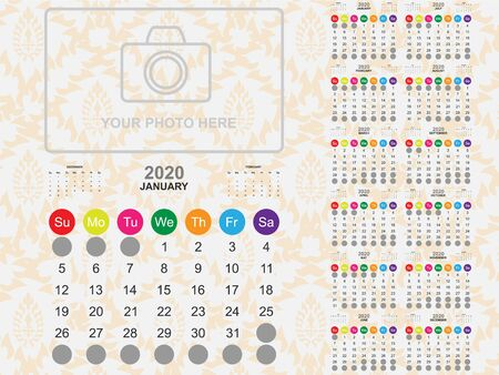 Calendar template for year 2020 collection. Template for planning and create to do list in year 2020. Vector EPS10 Иллюстрация