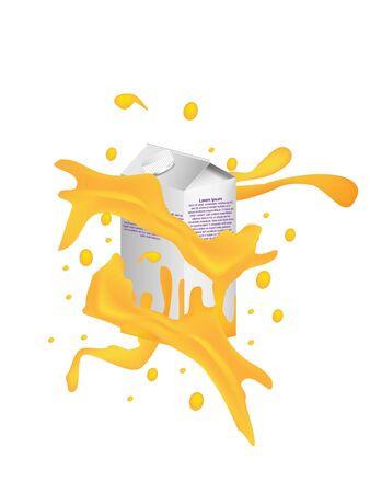 Concept and idea milk with orange flavor drop and orange juice splash background. Food and drinking concept. Vector EPS10