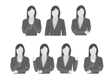 Half body language of business woman with wear suit. Vector EPS10