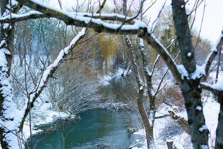 sweden winter: Landscape. River winter. Stock Photo