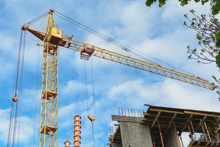 Yellow construction cranes, building metal-concrete structure, green branches of a tree. Horizontal photo.