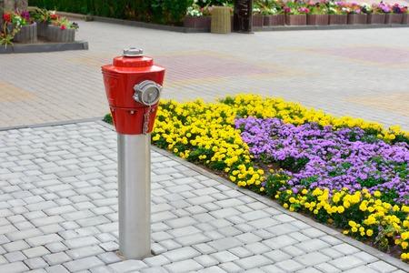Boca de riego de fuego rojo en la resistencia del metal en el pavimento en la ciudad.