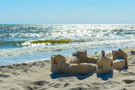 The sand castle on the seafront