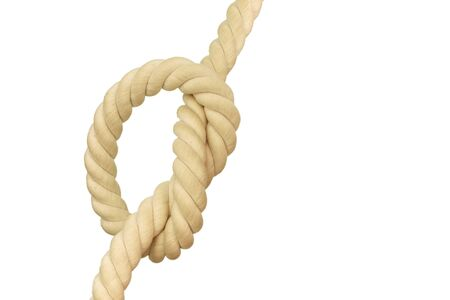 The nose of a rope of white and the same color is isolated on a white background