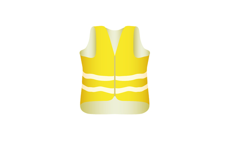 Yellow vest with glistening stripes hangs. Vector illustration. 向量圖像
