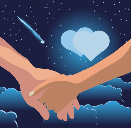 Mens hand holds a womans hand against the background of the moon in the form of a heart, clouds, stars and comets. Vector illustration.