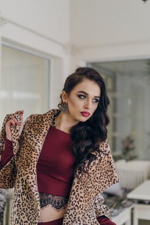 foxy girls: Beautiful smiling woman in tiger dress. Model