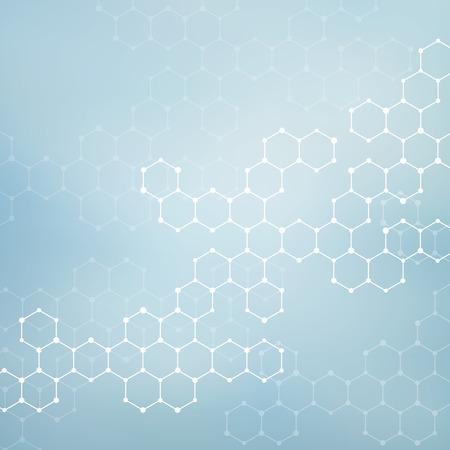 Estructura de la molécula de ADN y las neuronas. Fondo abstracto. La medicina, la ciencia y la tecnología. ilustración vectorial para su diseño.
