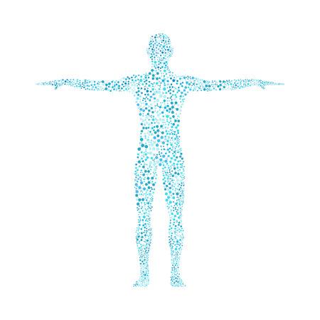 Humano. Estructura de la molécula del hombre. Ilustración del vector. La medicina, la ciencia y la tecnología. Vector científica para su diseño. Ilustración de vector