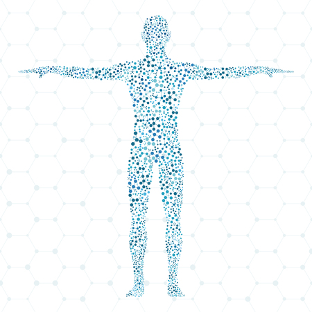 Humain. molécule Structure de l'homme. Vector illustration. Médecine, de la science et de la technologie. Vecteur scientifique pour votre conception.