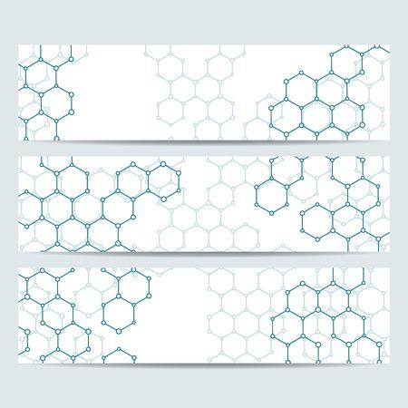 Conjunto de banderas de la ciencia moderna. Estructura de la molécula de ADN y las neuronas. La medicina, la ciencia y la technolog, plantillas de negocio y sitios Web. ilustración vectorial para su diseño. Ilustración de vector
