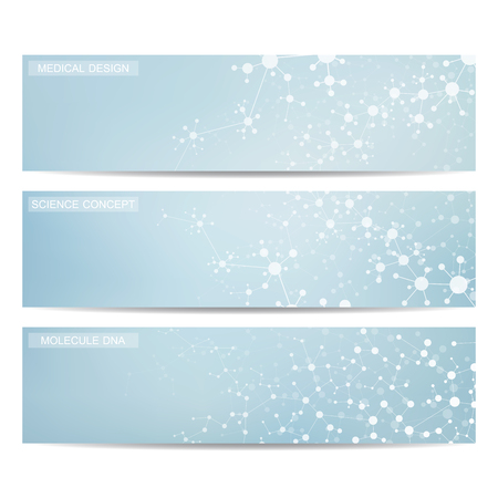 commercial medicine: Set of modern science banners. Molecule structure of DNA and neurons. Medicine, science and technolog, business and website templates. Vector illustration for your design.