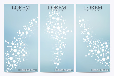 technology banner: Set of modern vector flyers. Abstract background with molecule structure DNA and neurons. Medicine, science and technology banner, card,web, certificate. Abstract DNA. Vector illustration.