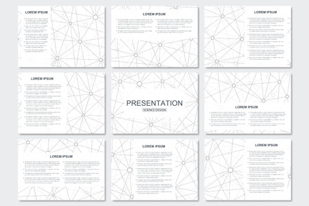 Set of modern business presentation templates in A4 size. Connection structure. Abstract background with molecule structure DNA and neurons. Illustration