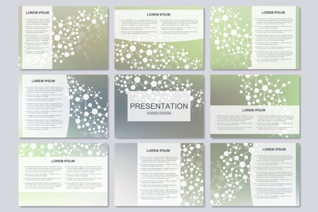 tecnology: Set of modern business presentation templates in A4 size. Connection structure. Abstract background with molecule structure DNA and neurons. Illustration