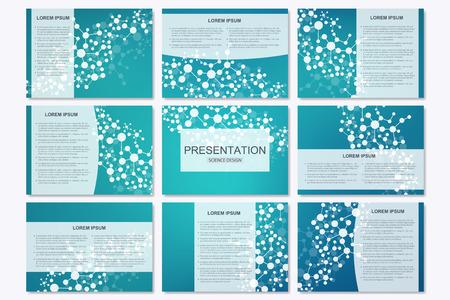 Conjunto de plantillas de presentación de negocios modernos en tamaño A4. estructura de conexión. Resumen de antecedentes con el ADN molécula y neuronas. La medicina, la ciencia, la tecnología concepto. ilustración vectorial