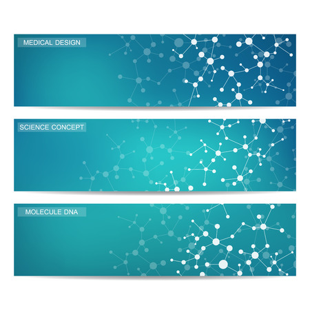 neurons: Set of modern scientific banners. Molecule structure DNA and neurons. Abstract background. Medicine, science, technology. Vector illustration for your design