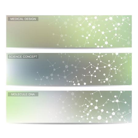 science scientific: Set of modern scientific banners. Molecule structure DNA and neurons. Abstract background. Medicine, science, technology. Vector illustration for your design