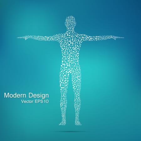 Estructura de la molécula del hombre. modelo abstracto ADN cuerpo humano. La medicina, la ciencia y la tecnología. Vector científica para su diseño