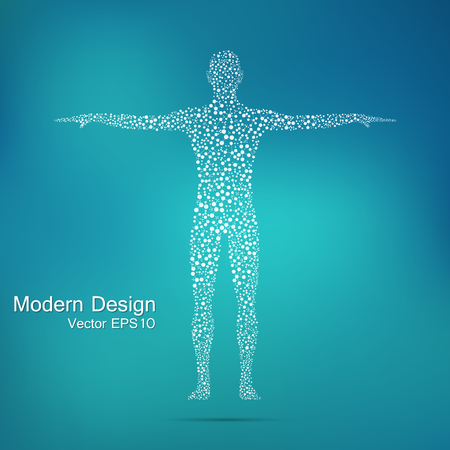 Structure molecule of man. Abstract model human body DNA . Medicine, science and technology. Scientific Vector for your design Vectores