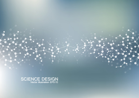 structural: Structure molecule of DNA and neurons. Structural atom. Chemical compounds. Medicine, science, technology concept. Geometric abstract background. Vector illustration for your design